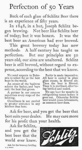 Publicidad cerveza Schlitz Claude Hopkins