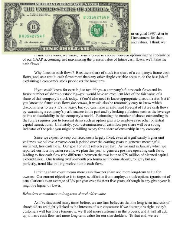 carta de ventas del billete de un dólar