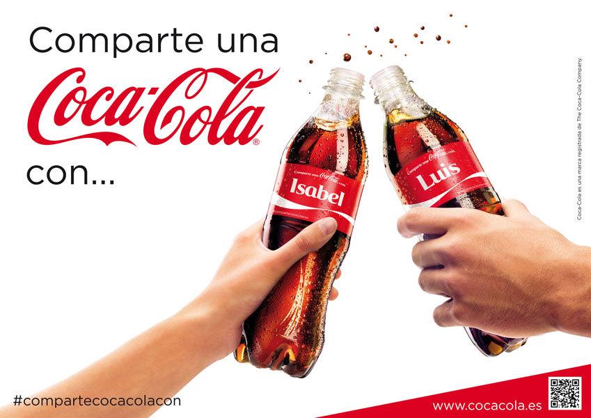 """Dos Coca-Colas con nombres en su etiqueta y la leyenda que dice """"comparte Coca-Cola con..."""""""