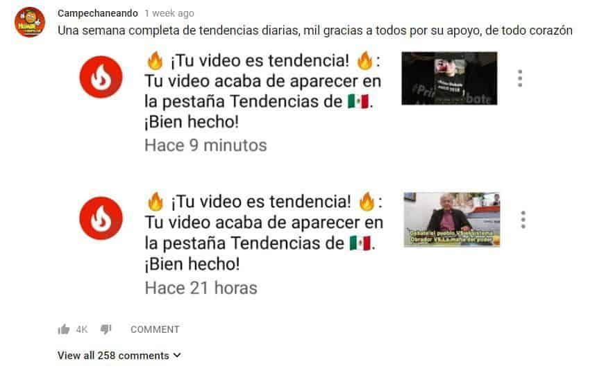 Campechaneando anuncia que sus videos han sido tendencia por una semana entera en YouTube