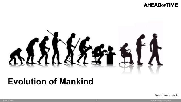 Muestra los perfiles evolutivos desde el mono hasta el hombre del futuro, que por fin camina derecho, libre de dispositivos.
